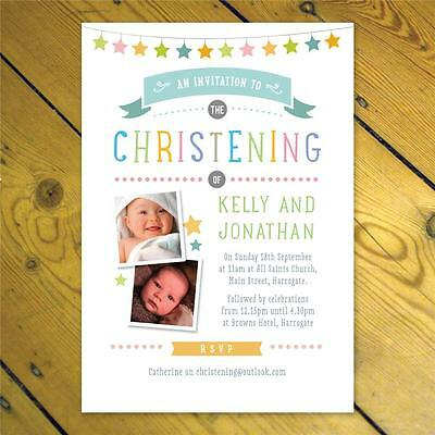 Personalised Joint Twins Christening Naming Day invitations girl boy photo