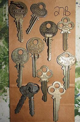 Collectible Vintage Brass YALE KEYS Tri Bow Security Paracentric FN44 R&E Keil