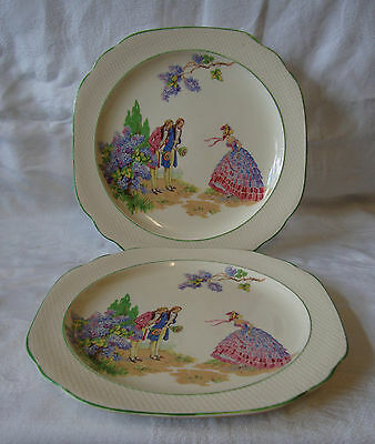 2 x Swinnertons - Hampton Ivory - 'Lilac Time' - Salad / Dinner Plates (24cm)
