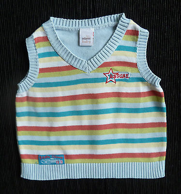 Baby clothes BOY 0-3m Adams blue/multi-colour stripe sleeveless sweater SEE SHOP