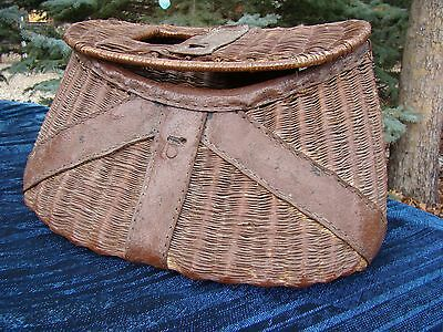Antique - Wicker & Leather - Fishing Creel - Found at Lake Tahoe - Nice Display