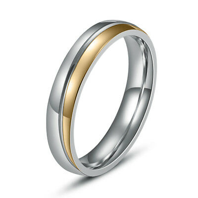 316L Stainless Steel 18K Gold Plated Women Band Party Wedding Ring 4MM Size 6-10