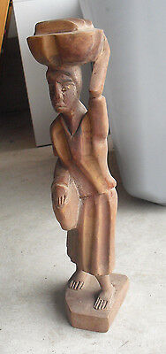"Vintage Hand Carved Wood African Tribal Woman with Baskets Figurine 12"" Tall"