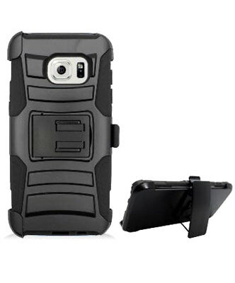 BLACK RUBBERIZED HARD CASE + BELT CLIP HOLSTER w/ STAND SAMSUNG GALAXY S7 EDGE