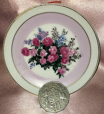 Estate Collectable ~ Small Flower Pin Butter Pat  Hanging Wall Dish Vintage
