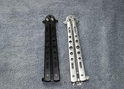 Stainless Steel Metal Practice Training Butterfly Balisong Style Knife Comb