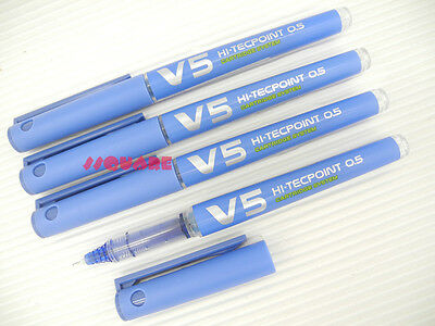 12 x Pilot V5 0.5mm Hi-Tecpoint Cartridge System Refillable Rollerball Pens, L