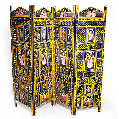 Antique Hand painted Room Divider with a detailed wooden work with paintings.