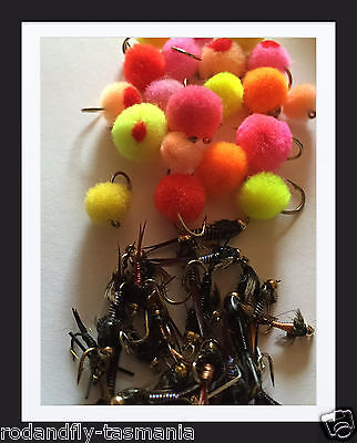Glo bugs and nymphs Snowy Mountains spawn run collection 40 of the best