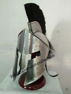 Medieval Brass Armour Antique Armour Greek Corinthian Helmet With Black Plume