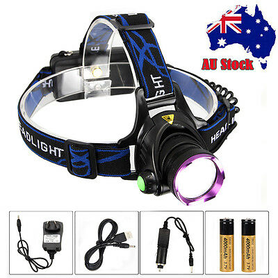 6000Lm XML T6 LED Headlight Headlamp Head Torch Light+18650+Car Charger+USB Line