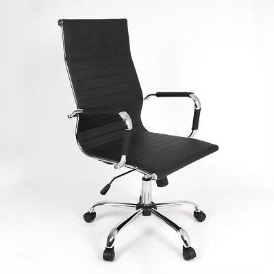 Chromed Black Faux Leather Gas Lift High Back Office Chair