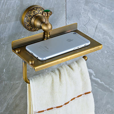Wall Mounted Multifunctional Toilet Paper Holder Antique Brass