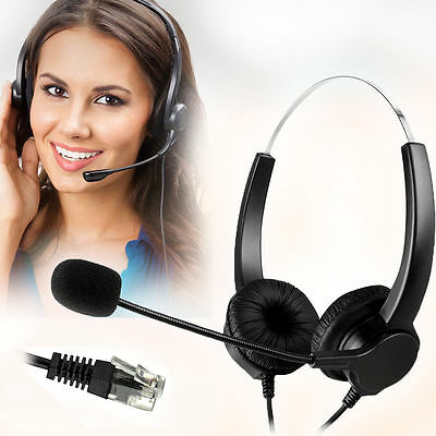 Call Center Noise Cancelling Corded Binaural Headset w Mic for Desk Telephone ac