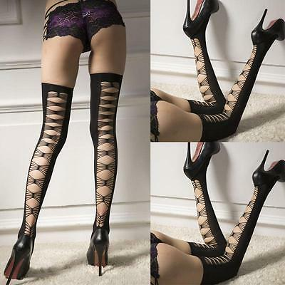 Women Hollow Lace Top Stay Up Thigh High Stockings Pantyhose Long Socks AU