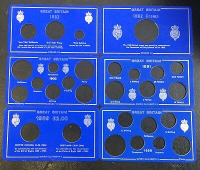 1902 - 1991 Various Great Britain blue coin holder inserts British coins