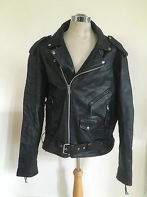 Heavy Black Leather Classic Motorcycle Jacket Men's Size Xl