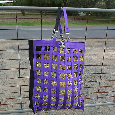 "Unicorn Tough Slow Feeder Web Hay Bag made from strong 1"" webbing"