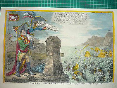 "James Gillray.  "" Destruction Of The French Gun Boats."""