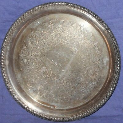 Vintage Wm Rogers silver plated ornate floral serving plate tray platter