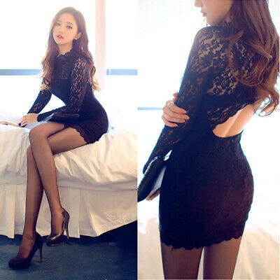 Sexy Backless Long Sleeve Lace Womens Cocktail Party Mini Dress Clubwear Solid