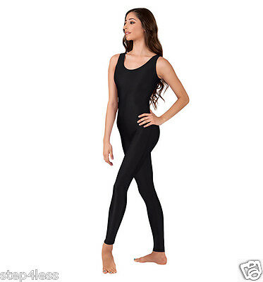 Nwt Adult size Medium Black Nylon Lycra jumpsuit unitard one piece bodysuit #813