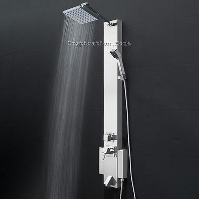 Shower Tower Head Panel Stainless Steel Spout Tub Wall Mount Rainfall Style