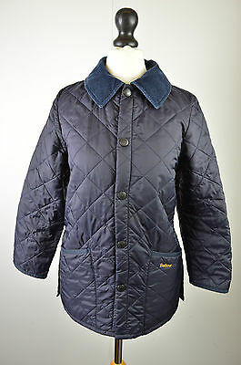 """Classic girls Barbour navy blue quilted Liddesdale jacket coat medium 36"""""""
