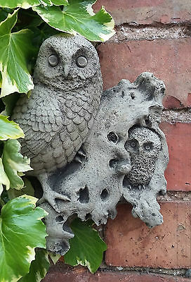 Stone Garden Owl With Baby Owlet Wall Plaque Hanging Ornament
