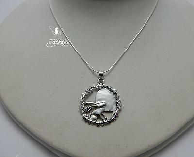 Beautiful sterling silver Moon Gazing Hare neckace .925 stamped pagan jewellery