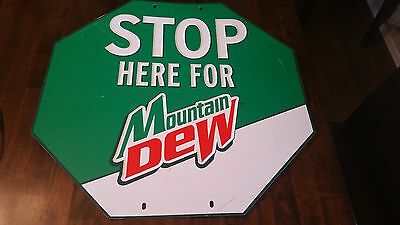 Stop Here for Mountain Mt. Dew Sign Embossed Metal Vintage