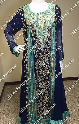 Pakistani Indian Pearl Salwar Kameez Party Wear Embroidery Wedding Bridal M