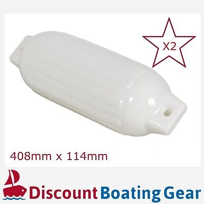 2x Small Boat Fender 408mm Inflatable Buffer Marine Twin Eye Ribbed White