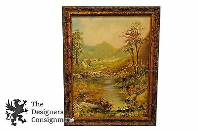 Beautiful Original Realist River Landscape Painting Spring Countryside Oil Vtg