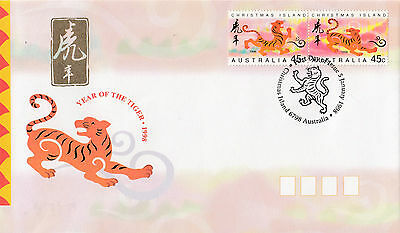 Christmas Island 1998 Year of the Tiger Set of 2 FDCs