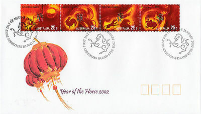 Christmas Island 2002 Year of the Horse Set of 4 FDC
