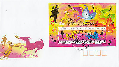 Christmas Island 2003 Year of the Goat Set of 2 FDC