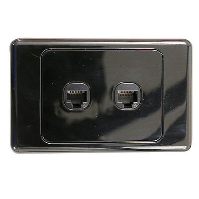 2 Gang Wall Plate Wallplate Clipsal Style RJ45 Cat 6 Data Network LAN - BLACK