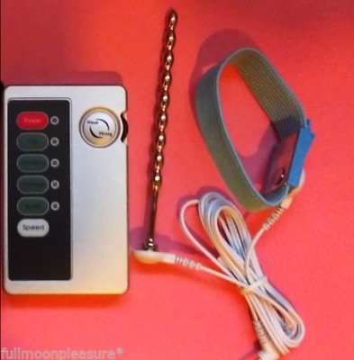 Electro E-Stim Tens Massage Set With Unit 2X Conductive Rings & Steel Urethral