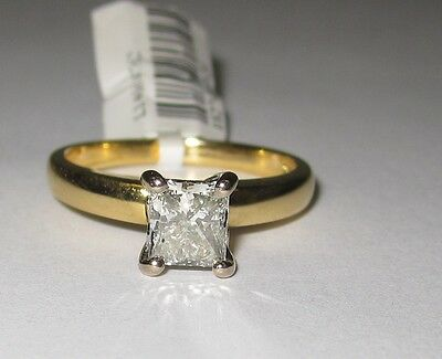 CLEARANCE 18k Yellow Gold 1ct Solitaire Princess Diamond Engagement Ring #726356