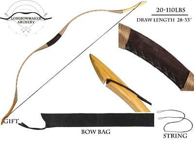 Traditional Archery Hunting Bow Recurve Bow Brown Pigskin Longbow 20-110lb