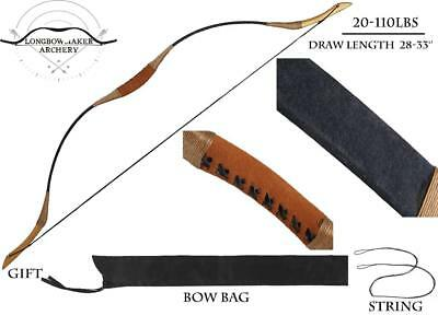 20-110lb Archery Hunting Bow Recurve Bow Black Pigskin Longbow Target Shooting