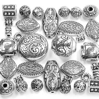 34 Large Antique Silver Plated CCB Beads Mix Kit Set Jewellery Making Spacers UK