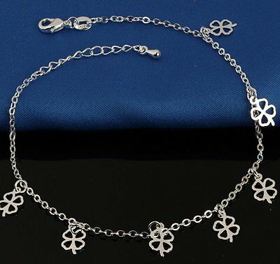 925 Sterling Silver Plated Four Leaf Clover Ankle Bracelet Anklet UK gift bag