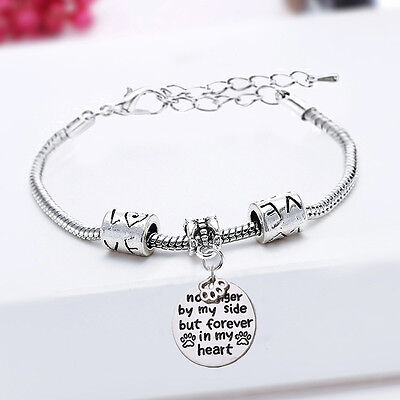 No Longer By My Side Forever In My Heart Pet Rescue Paw Print Bracelet Bangle