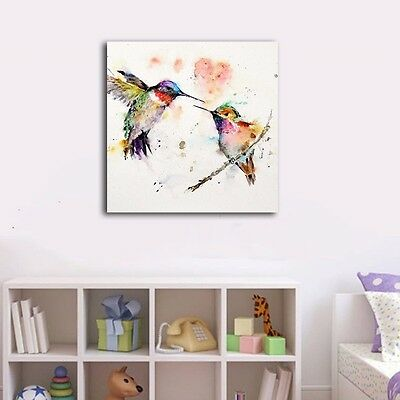 Watercolor Colorful Birds Stretched Framed Canvas Prints Wall Art Home Decor