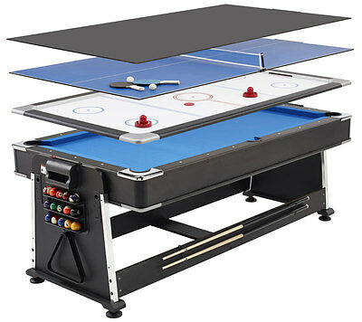 Mightymast 7ft Revolver 3-in-1 Games Table – Pool, Air Hockey, Table Tennis Game