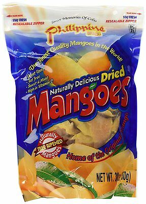 30 oz Philippine Naturally Delicious Dried Mangoes Tree Ripened Fruit Resealable