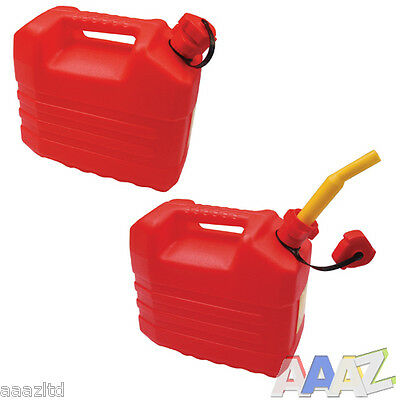 10L Red Plastic Fuel Jerry Can Petrol Diesel Water 10 Litre With Spout