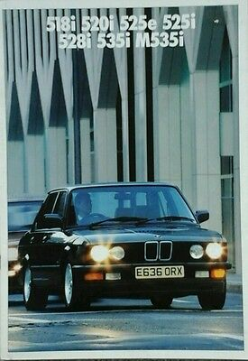 BMW 5 Series Sales Brochure with separate Colours guide Feb 1987 includes M535i